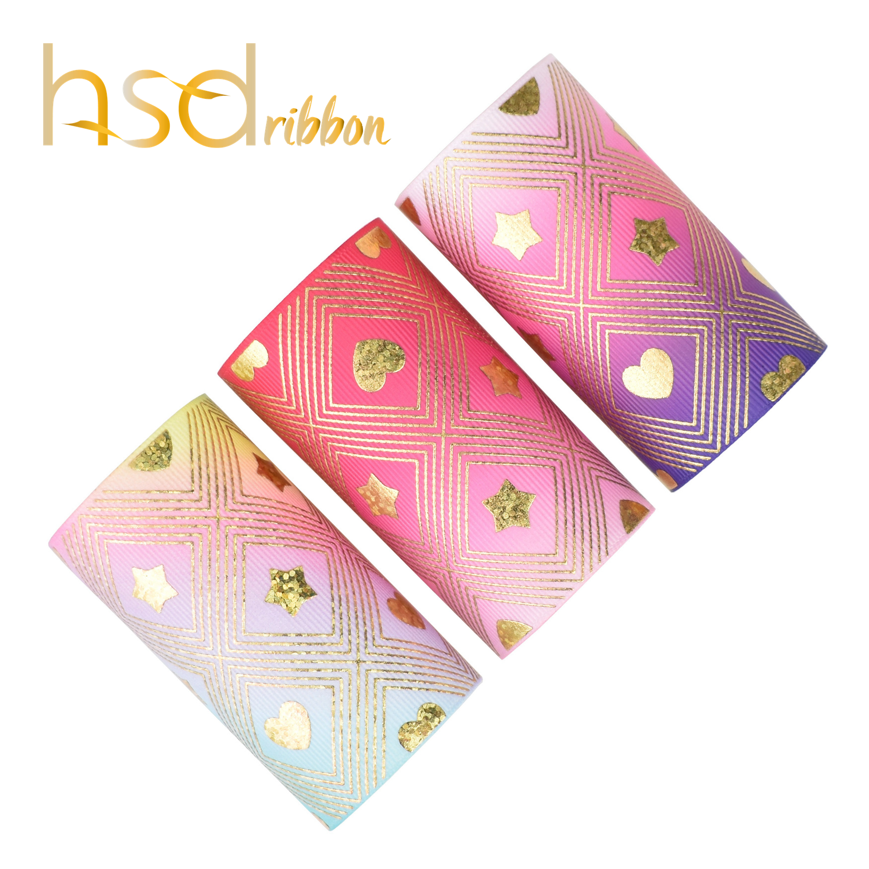 HSDRibbon 3 inch 75MM Custom Valentine s Day series Heat transfer with foil on grosgrain ribbon