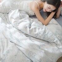 Queen King Size Adults Printing Duvet Cover Set For Summer Tencel Bamboo Fiber Bedding Set Elegant