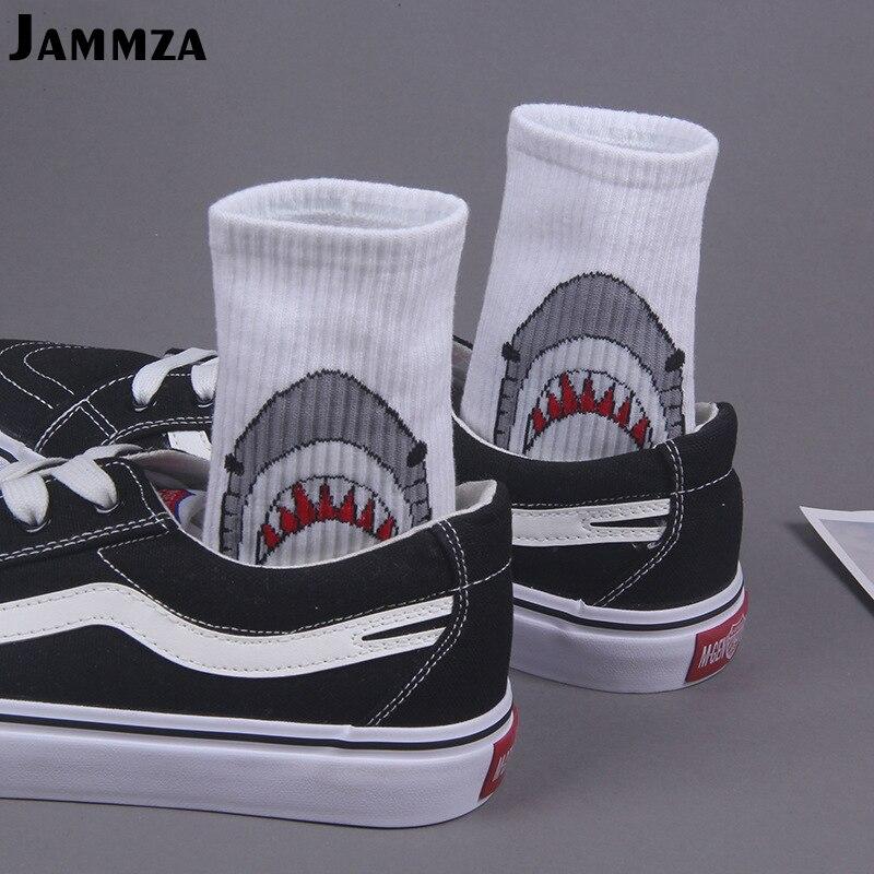 Fashion Shark Hip Hop   Socks   Men Long Cartoon   Socks   Hiphop Street Sport Skateboard black white Crew   Socks