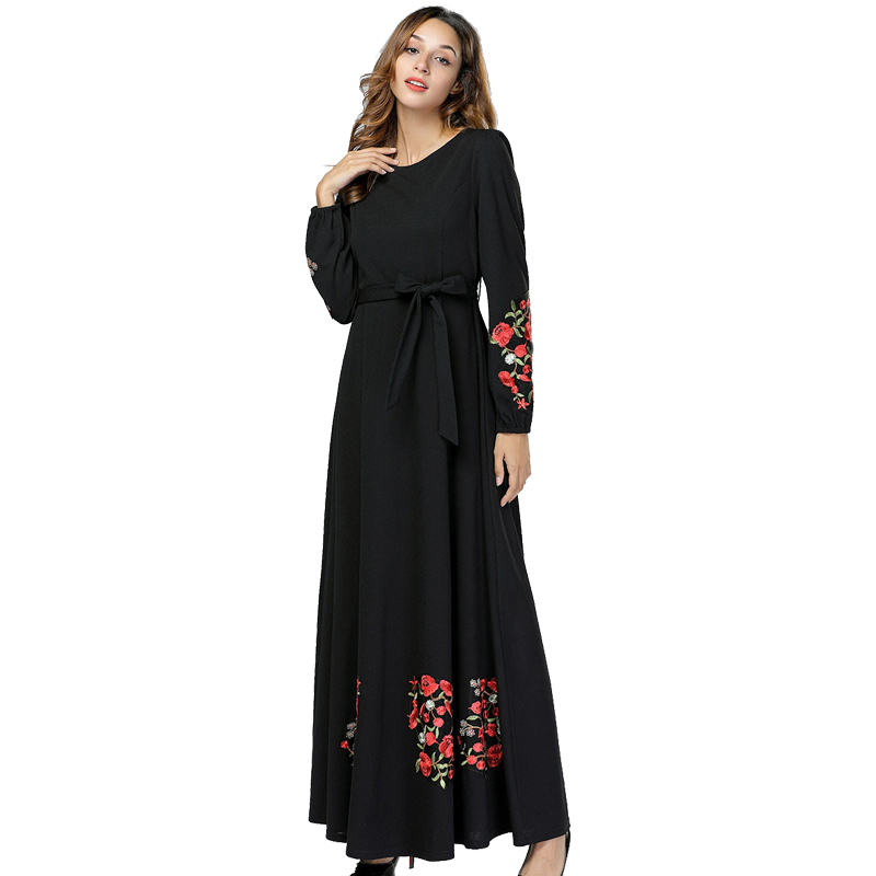 394d6ed82a551 Black Vestidos Kaftan Abaya Dubai Arabic Hijab Muslim Dress Women Elbise  Turkish Islamic Clothing Robe Musulmane Longue Dresses