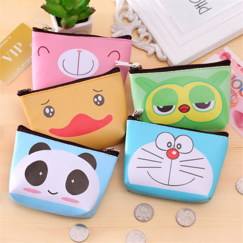 Creative Women Coin Purses Cartoon Animal Pattern Small Fresh Coin Bag Kids Gift Party Headset Line Leather Coin Purse Card Bag