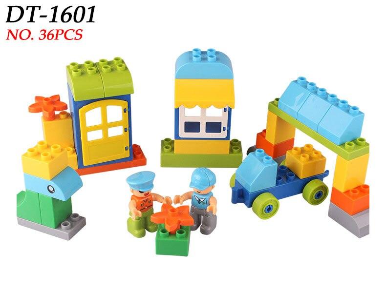 цена 36pcs Duploe Blocks Uncle David Drive the Train Bricks Classical Big Size Building Blocks MOC Creator Block Toy for Children онлайн в 2017 году