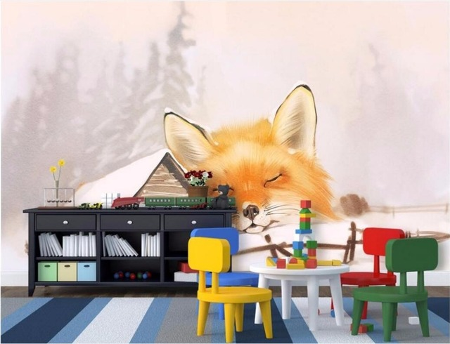 WDBH Custom Mural 3d Wallpaper Snow Wooden Bed Fox Home Decoration Painting Wall Murals