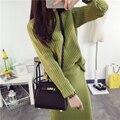 2016 Autumn elegant korean pullover sweater suit knitted two piece set women dress winter fashion stripes women set with skirt
