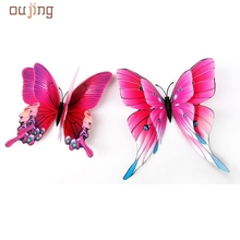 High Quality 12pcsWall Decor 3D Butterfly butterflies Stickers Fridge Magnet Room decoracion pared Decal Applique Freeshipping