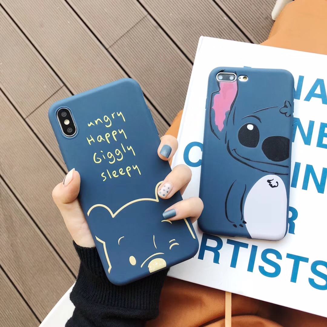 Cute cartoon anime simple funny stitch pooh bear cases soft tpu cover case for iphone 8 7 6 6s plus x xr xs max phone back shell