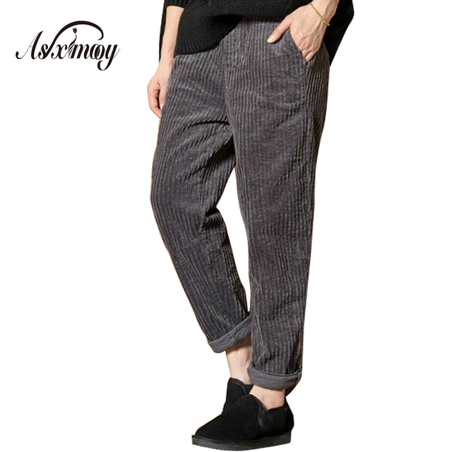 Plus Size Casual Vintage Corduroy Harem Pants Trousers Women Elastic High Waist Autumn Winter Pants 2018 Pantalons Femme Mujer