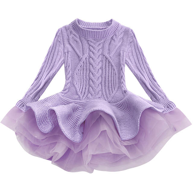 6ff3cf07e5202 Girl Thick Knitted Long Sleeve Dress