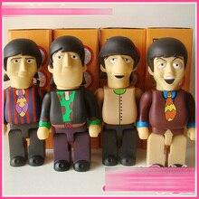 4 pçs/set Os Beatles Vinil Boneca OriginalFake KAWS Bearbrick Be @ rbrick 400% Submarino Amarelo DIY Bonecas com caixa de brinquedos NOVO 28 cm