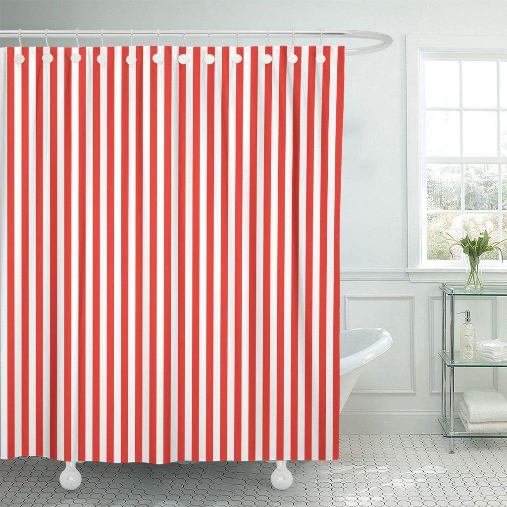 Us 15 73 41 Off Shower Curtain With Hooks Colorful Baby Red White Stripes Pattern Basic Birthday Bright Colors Digital Geometric Bathroom In Shower