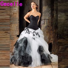 cecelle Black White Gothic 2019 Wedding Dresses Ball Gown