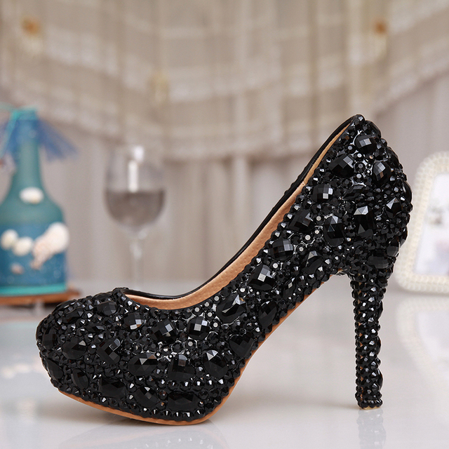 Wedding Pumps Platform Rhinestone Bling Dress Prom Shoes Black Rhinestone  Crystal Bridal Shoes Women Evening Party Dress Shoes 932c98c93d48