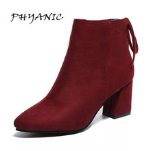 Women Boots 2017 High Heels Ankle Boots Short Plush Pointed Toe Motorcycle Boots Fashion Sexy Winter Ankle Boots Heels PHY8312