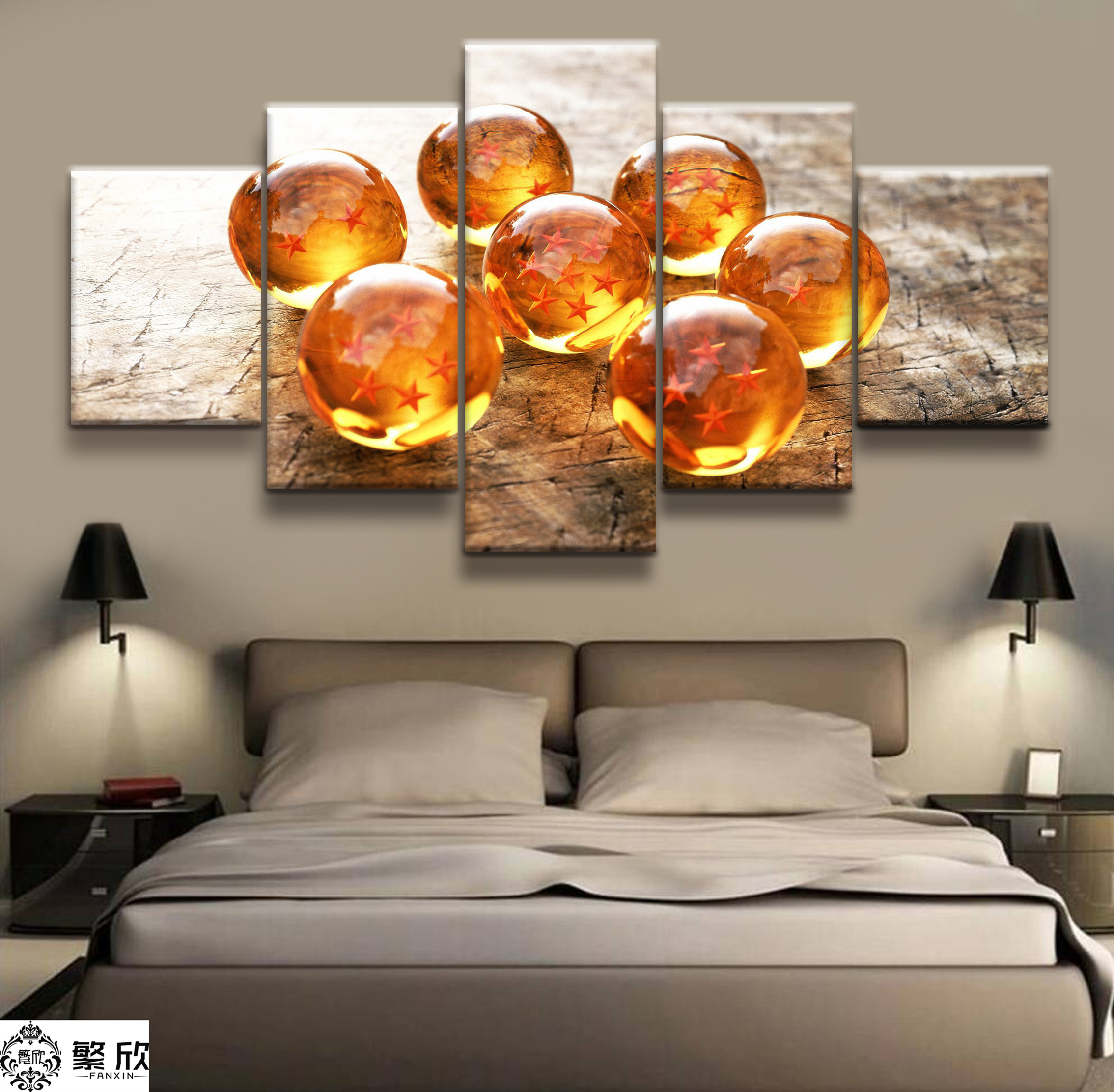 Hot Sales Without Frame 5 Panels Picture Dragon Ball Super Animation Painting Artwork Wall Art Canvas Painting Wholesale in Painting Calligraphy from Home Garden