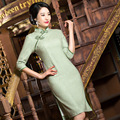 TIC-TEC chinese traditional women vintage warm wool cheongsam long qipao oriental dresses elegant formal evening clothes P2975