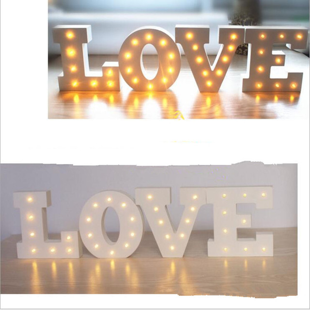 Wood Alphabet Led Letter Light Diy 3d Lamp Romantic Home Birthday