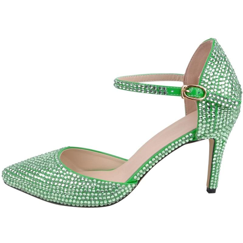 LOSLANDIFEN Women Ankle Strap Crystal Heels 8CM High Heel Full Rhinestone  Pointed Toe Wedding Shoes Women Bridal Pumps 9163e96e68b0