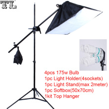 Top Hanger SoftBox set 1pc light stand 1pc light holder 1pc softbox photo equipment softbox kit 4socket arm boost softbox kit
