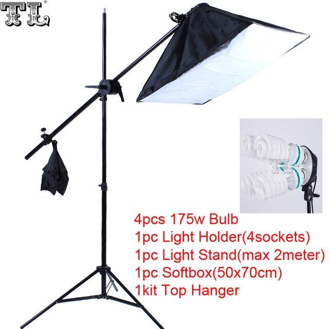 Top Hanger SoftBox set 1pc light stand 1pc light holder 1pc softbox photo equipment softbox kit 4socket arm boost softbox kit