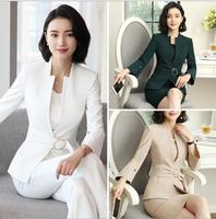 2018 Vintage Casual women Skirt Suits blazer slim Apricot High quality business office ladies Workwear Elegant Skirt suits