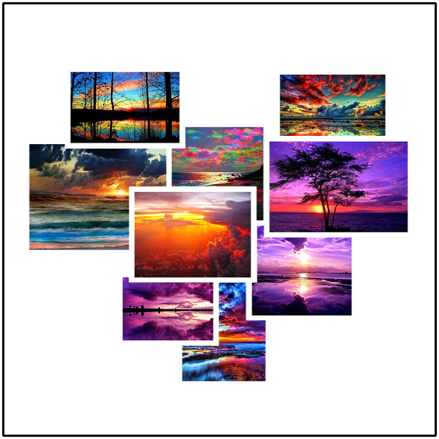 HUACAN Diamond Painting Full Drill Square Landscape 5D DIY Diamond Embroidery Seaside Sunset Picture Of Rhinestone