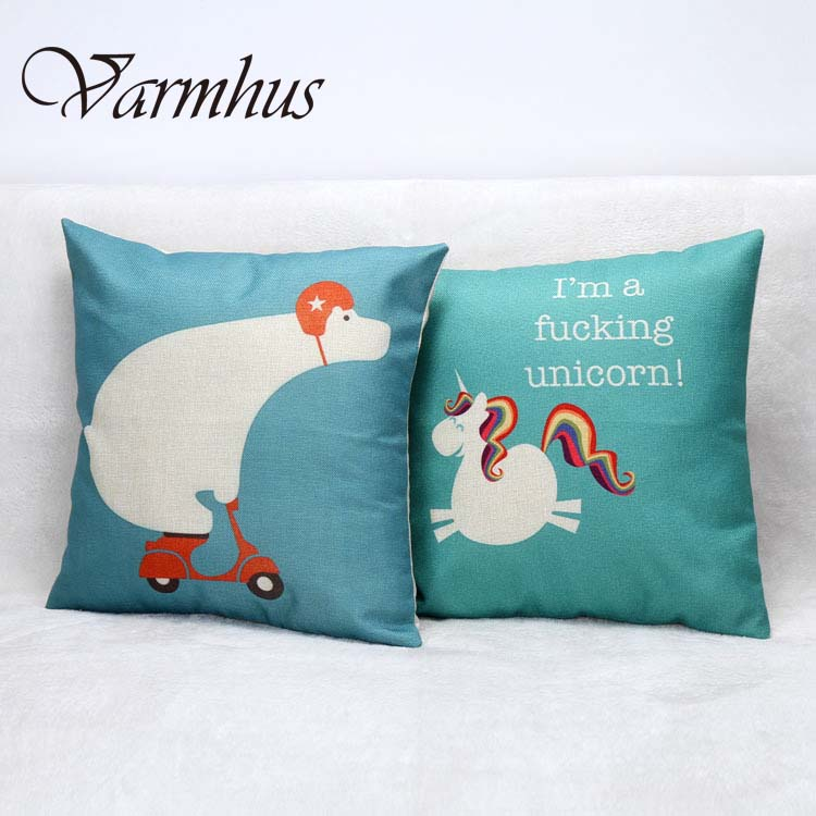 Varmhus I am a Fuking Unicorn Pillow Case Funny Animal Cotton Printed Cushion Cover For Home Office Decorate Pillowcase 45x45cm