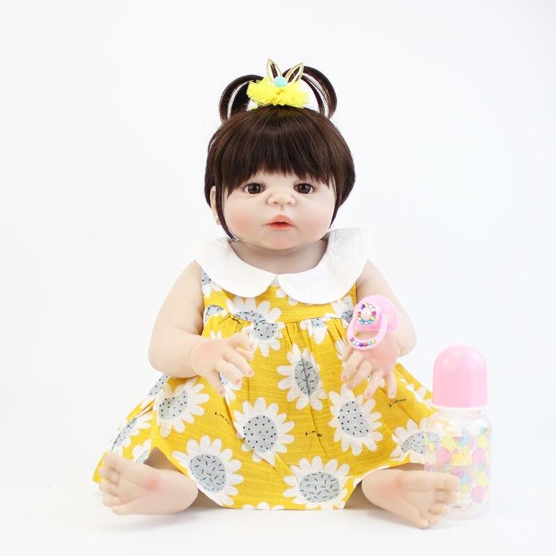 55cm Full Silicone Reborn Baby Doll Toy Vinyl Newborn Princess Toddler Babies Birthday Gift Girl Bonecas Bebe Bathe Toys55cm Full Silicone Reborn Baby Doll Toy Vinyl Newborn Princess Toddler Babies Birthday Gift Girl Bonecas Bebe Bathe Toys