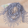 Fashion spring summer originality women lace hollow out rose fringed scarf floral triangle scarf shawl silk scarves