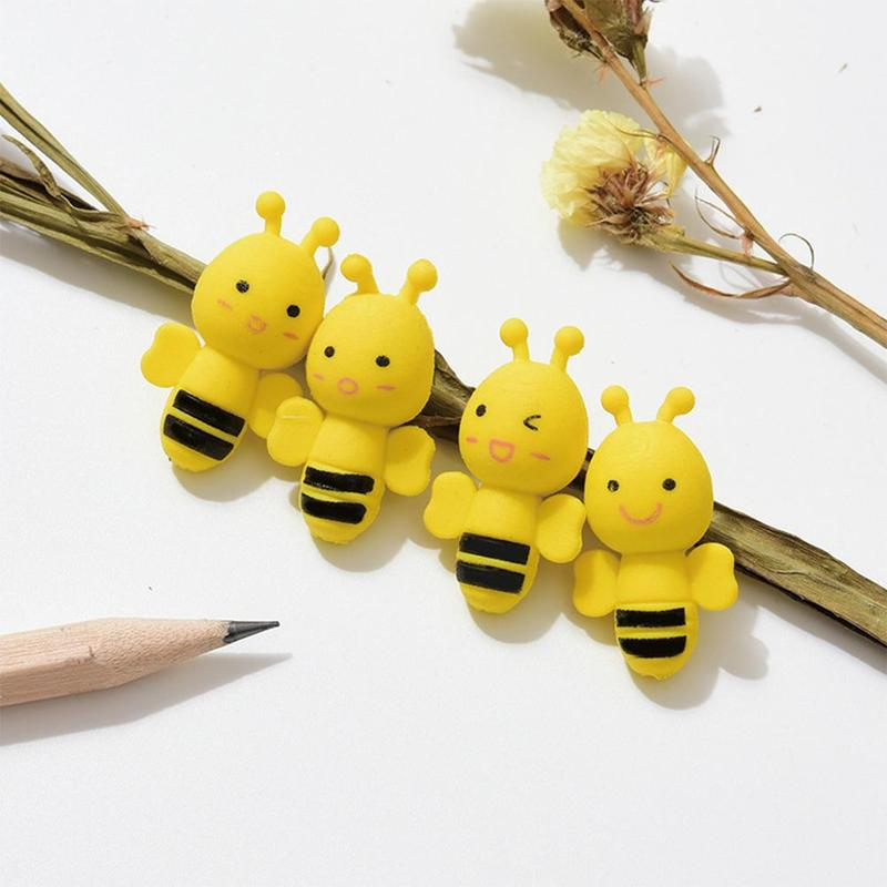 4 Pcs/pack Cute Mini Animal Insect Little Yellow Bee Erasers Rubber Pencil Erasers School Office Supply Student Stationery Gift