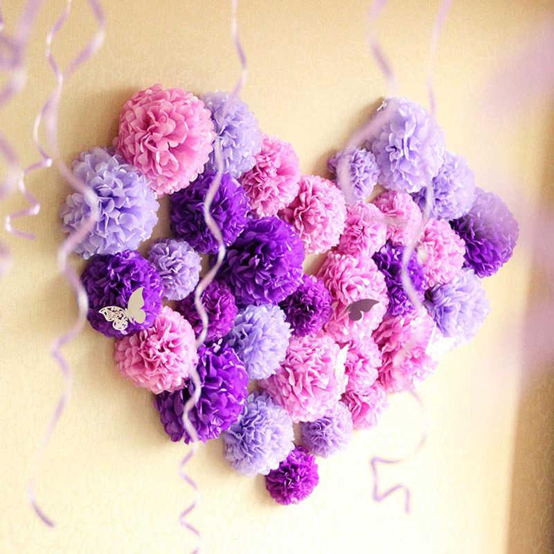 """4 """"10 centímetros Pompom Papel Tissue Pom Poms Flor Balls para o Quarto Casamento Decoração Fontes Do Partido DIY Branco Pendurado flores de papel"""