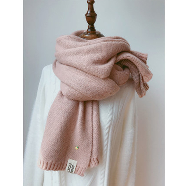 Solid Cashmere Winter Thicken Warm Soft Long Scarf 2