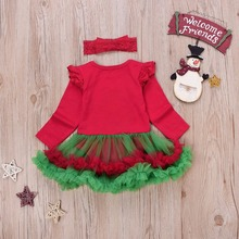 2017 Newborn Baby Girls Christmas Costumes Headband + Long Sleeve Romper Dress Clothes Set Infant Toddler Baby Girls Outfit 2pcs