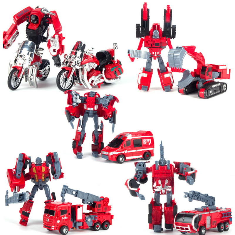 Mini Transformation 5 in 1 Combiner kids Toy Robot Car Defensor Action Figure Fire Engineering vehicles Truck Motorcycle Gift 2014 new high quality building blocks minifigures 4 in 1 combiner various models transformation robots cars action figure