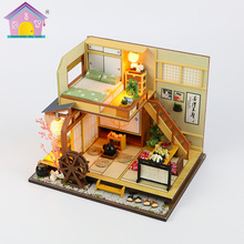 цена на DIY Doll House Wooden Doll Houses Miniature Dollhouse Furniture Kit with LED Toys for Children Christmas Gift Baby Puzzle Toys
