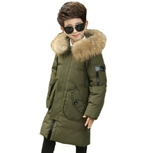 Фотография Big Boys Duck Down Jacket Big Boys Warm Parkas Winter Down Coat Thickening Outerwear with Hooded for Russian Winter -30 degree