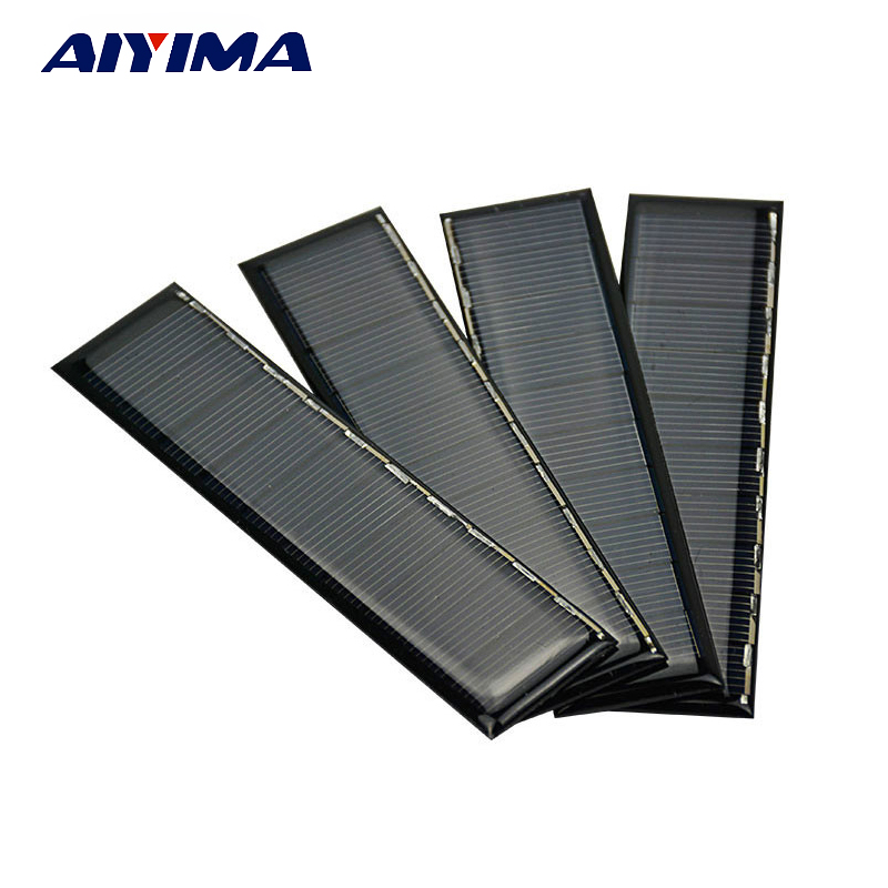 AIYIMA 10pcs Solar Panel Poly Silicon Solar Cell 5V 120mA 120*30mm Power System Photovoltaic Cell Diy Power Bank PV Panel