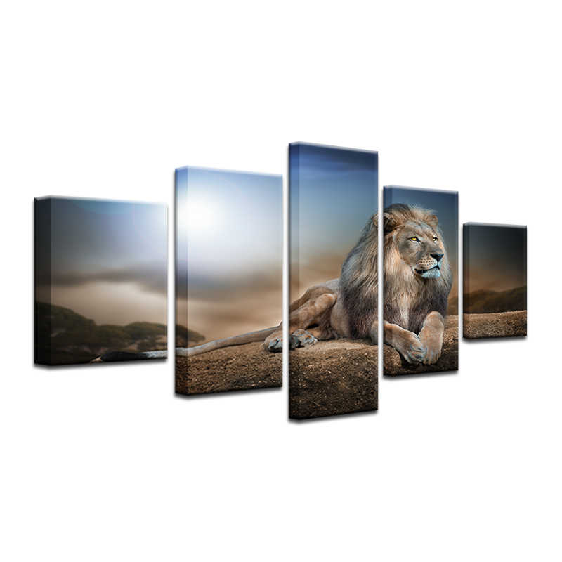 Lion Canvas Painting HD Printed Animals Group Home Decor Wall Pictures For Living Room 5 Pcs Modular Pictures Cuadros Decorativo