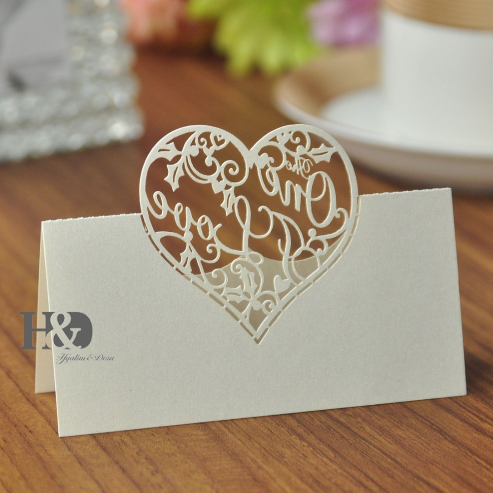 buy laser cut two colors love heart 12 pcs name place card for glass cup table card invitation party wedding favors decorations from