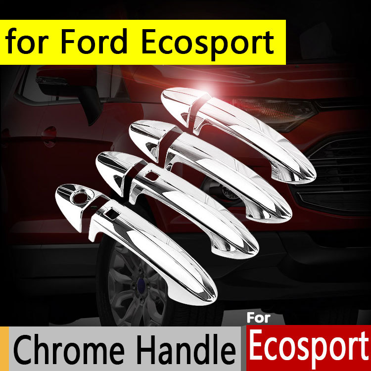 for Ford Ecosport 2013-2017 Chrome Door Handle Car Covers Trim of 4 Door Accessories ABS Plastic Car Styling 2014 2015 2016 charming embellished blue rhinestone wedding ring