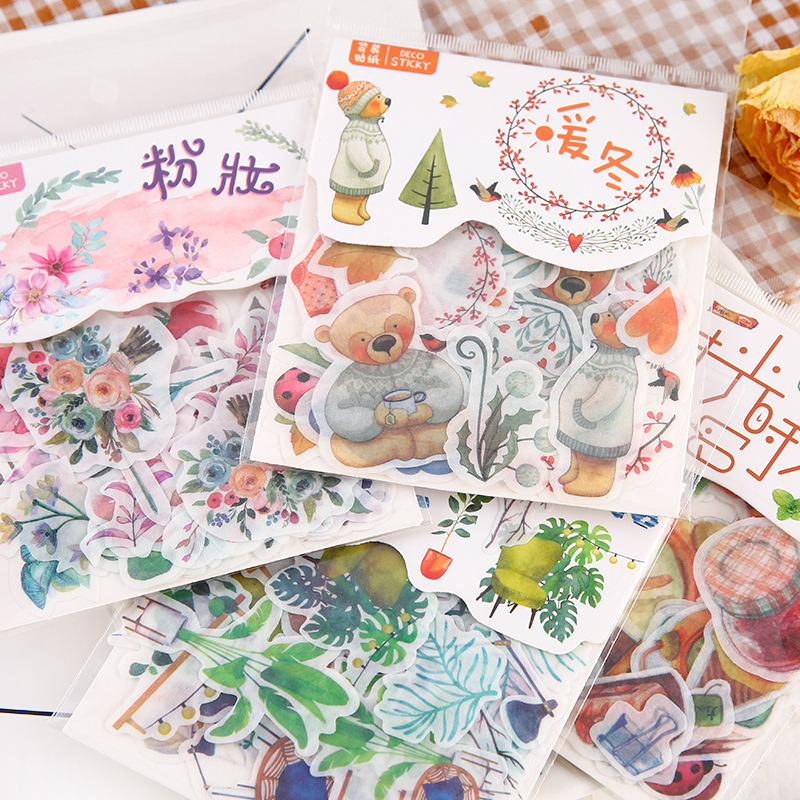 40sheets Cartoon Cute Stickers Bag Plant Modeling Basic Decor Adhesive Sticker School Stationery Bullet Journal Accessories