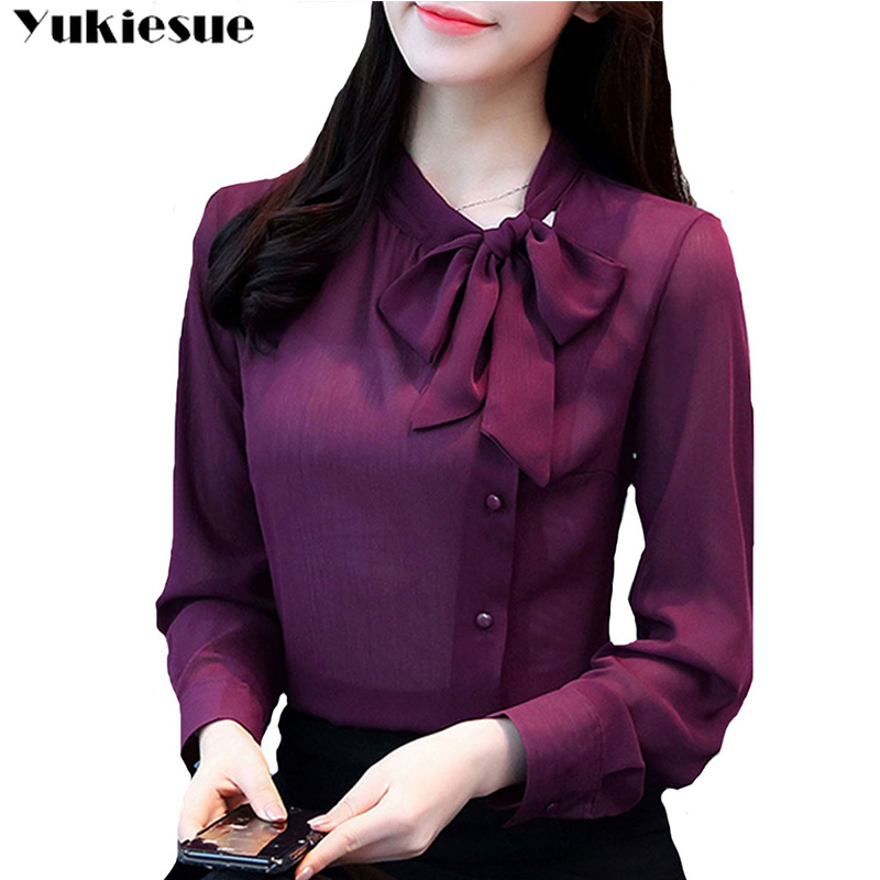 2018 bow neck women's clothing spring long-sleeved chiffon women   blouse     shirt   solid purple formal women tops blusas plus size