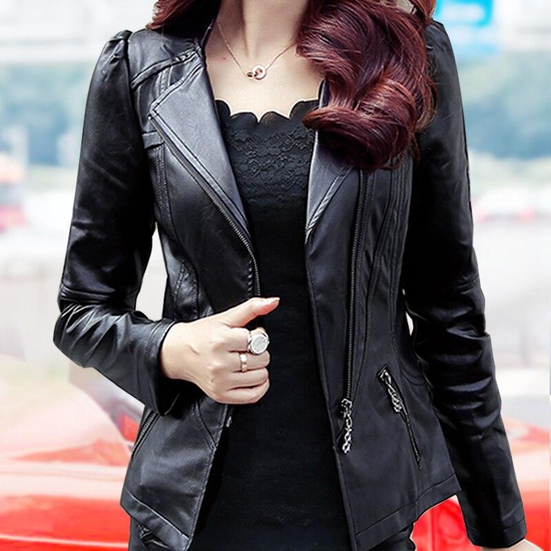 La Noir Pu Vestes Mode Moto Manteau Fermeture Femmes Veste New En Survêtement 5xl Nouvelle Cuir Plus Taille Éclair Zipper Smxl D'hiver M Slim 5wRTRx