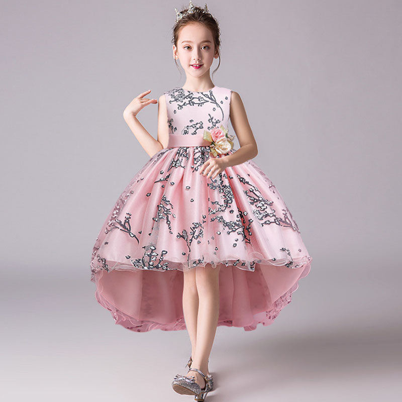 Trailer Flower Girls Party Dress Ball Gown For Kids Princess Dress Baby Costume First Communion Costume Ladies Vestido Comunion