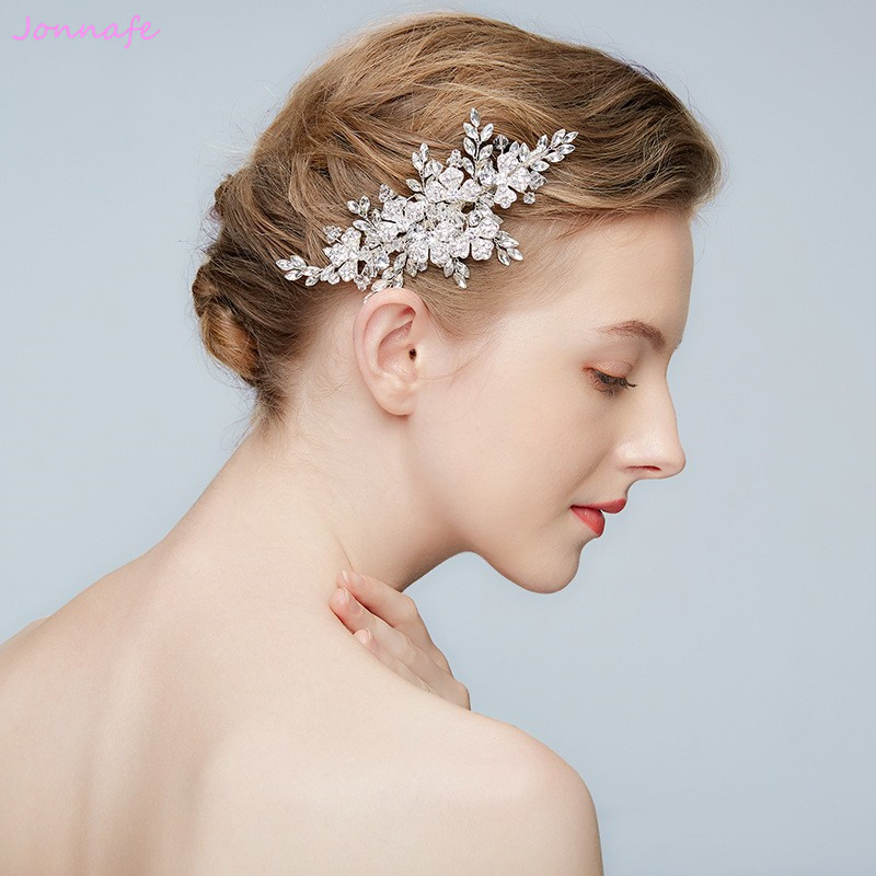Jonnafe 2018 Shine Crystal Hair Comb Bridal Acceessories Silver Flower Women Headpiece Handmade Wedding Hair Jewelry Combs