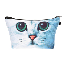 Small Cosmetic Bag 2016 fashion green eye cat 3D Printing New trousse de maquillage Women Fashion Brand Travel Makeup Case Gift