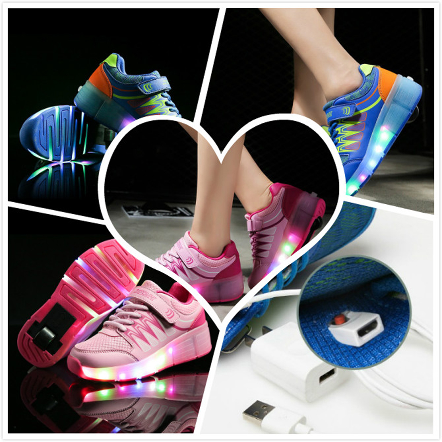 Roller shoes cheap - Cheap Price For 2016 Child Led Light Heelys Girls Boys Roller Shoes Wheels Shoes Usb Charging Kids Fashion Roller Skate Sneakers Children Shoes Cheap Price