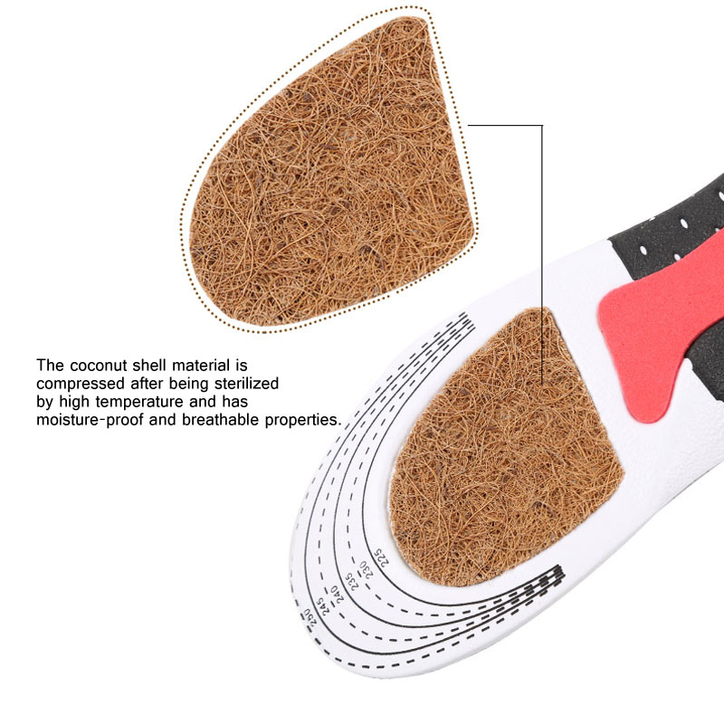 1Pair Running Gel Insoles Sport Shoe Pad - Coconut beard insole Unisex Orthotic Arch Support Sport Shoe Pad Sport Running Gel In