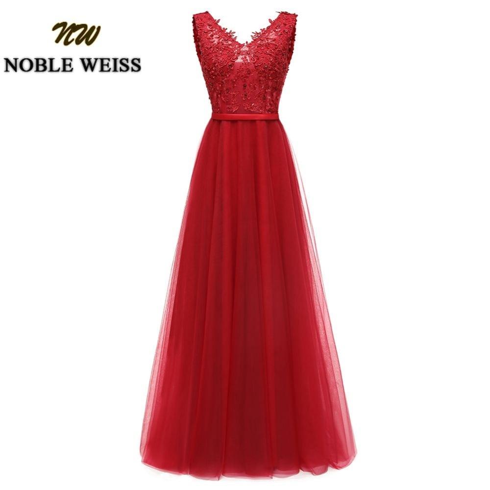 NOBLE WEISS Floor-Length Crystal Beading Prom Dress Elegant V-neck Evening Dresses Long Prom Dresses Custom made colour