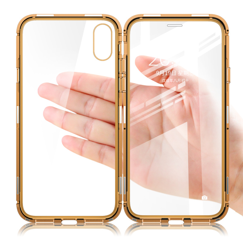 Suntaiho Magnetic Case for iPhone XS case XS Max Dual Tempered Glass Magnet Adsorption Case for iPhone 8 Plus glass 7 XR Cover
