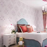 European Style Simple Non Woven Fine Press Wallpaper Warm Room Boy Girl Wallpaper Rose Princess Bedroom